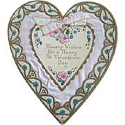 Lovely Large 1930s Embossed, Diecut PINK Satin VALENTINE'S DAY Heart Card
