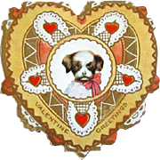 SALE PENDING Adorable Vintage 1920s WHITNEY Heart Shape EMBOSSED Puppy Dog Valentine Day Card