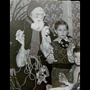 Wonderful 1930s Black & White CHRISTMAS PHOTOGRAPH, Belsnickle Santa Costume