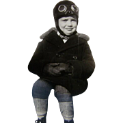 1920s Vintage PHOTOGRAPH, Little Boy in Aviation Helmet & Goggles