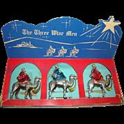 SALE PENDING 1950s CHRISTMAS Nativity, 3 Wise Men Camels, Hard Plastic, BRADFORD, Orig. Box