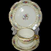 Vintage Porcelain Trio HAVILAND LIMOGES Nosegay Cup & Saucer, Dessert Plate