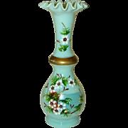 Lovely Antique Victorian BRISTOL GLASS Enamel Painted Ruffle Edge Vase