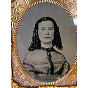 Antique Tintype Photograph, Proud Young Beauty, Sausage Curls. Tinted