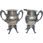Lovely Antique Victorian SP AESTHETIC Footed Creamer & Sugar Bowl, MERIDEN