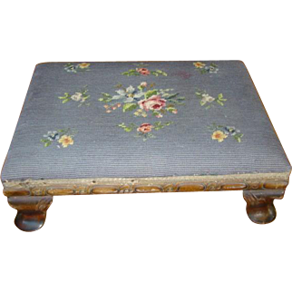 Vintage 1920s Floral Needlepoint CARVED WALNUT Low Foot Stool