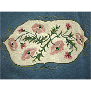 Lovely Large Vintage PINK BLUE Floral Completed PIANO BENCH NEEDLEPOINT Tapestry