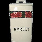 Antique Porcelain Pottery BARLEY Lidded Canister, ROSES, Frida, GERMANY