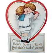 Antique Embossed Diecut Double Heart VALENTINE'S DAY Card, Kids Kissing