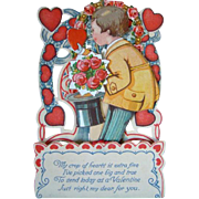 Lovely Vintage Diecut Honeycomb VALENTINE'S DAY Card, Little Boy Tophat, Hearts
