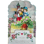 Lovely Vintage Diecut Honeycomb VALENTINE'S DAY Card, Lighthouse, Basket Hearts