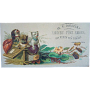 Antique LADIES' FINE SHOES DeHaven TRADE CARD, Lithograph Dogs in Basket, Phila.