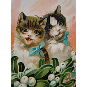 Adorable Vintage Embossed CHRISTMAS POSTCARD, Pair of Sweet Kitty Cats