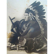 Old Cabinet PHOTOGRAPH, White Man AMERICAN INDIAN FEATHER HEADDRESS, Robe, Pipe