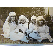 Sweet 1910 PHOTOGRAPH, Little Girls Dressed in RED CROSS NURSE UNIFORMS