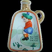 Vintage Bisque NIPPER Liquor Flask BOTTLE, Fleeing Frogs, NEVER DRINK WATER