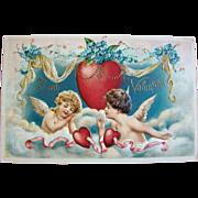 Beautiful Embossed Antique 1910 VALENTINE POSTCARD, Cherubs & Beaded Heart