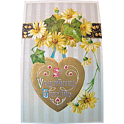 Lovely Embossed Antique 1910 VALENTINE POSTCARD, Gold Heart & Daisies