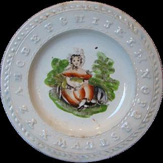 Antique STAFFORDSHIRE ABC Pearlware Dollhouse or Teaset Plate GARDEN GIRL