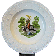Antique Childrens STAFFORDSHIRE ABC Pearlware Dollhouse or Teaset Plate NAUGHTY BOY