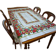 Lovely Vintage Linen Floral TABLECLOTH, RED ROSES, Yellow Flowers