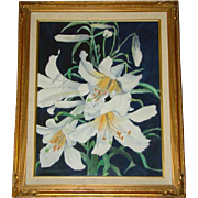 Lovely Vintage Framed, Signed EASTER LILY Floral Watercolor, By RUTH ANDERSON