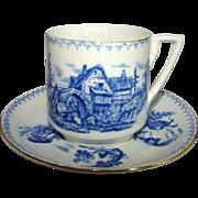 Antique Porcelain BLUE & WHITE Demitasse Cup & Saucer, SARREGUEMINES, Germany
