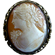 Gorgeous Antique Detailed Carved Shell CAMEO LADY Gold Plate FILIGREE PIN, As Is
