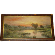 Gorgeous Antique Framed WATERCOLOR, Sunset Landscape, GEORGE H. FLAVELLE