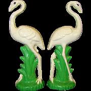 2 Vintage MAJOLICA Style Pottery CRANES or STORKS Mantle Decoration