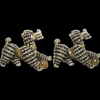 Vintage Pair Large POODLE DOG Pins, Aurora Borealis, Pearl & Rhinestone Accents