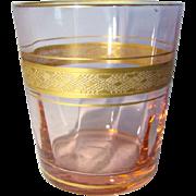 Vintage TIFFIN Pink Optic Elegant Glass Gold Band JIGGER or SHOT GLASS