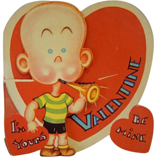 Vintage 1930s HENRY Comic Strip Fold-Out Die Cut Valentine Day Card