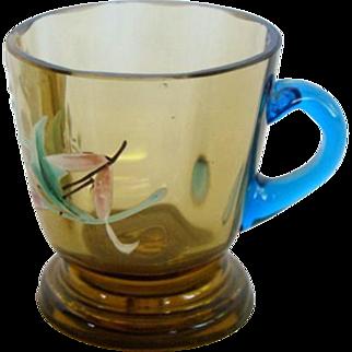 Antique VICTORIAN Moser Bohemian Glass Miniature CUP Mug PAINTED ENAMEL Doll