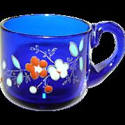 SALE PENDING Antique VICTORIAN Moser Bohemian Glass Miniature CUP Mug PAINTED ENAMEL