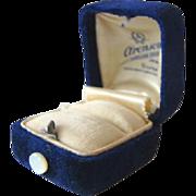 Gorgeous Antique ART DECO Velvet ROYAL PURPLE RING BOX, MOP Button, Aronson's