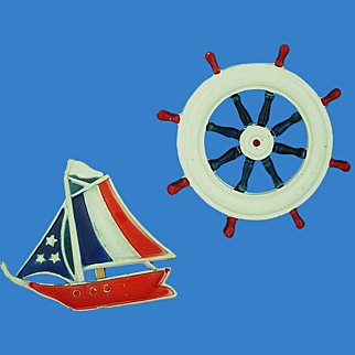 Red White Blue Sailing Ship & Ship's Wheel Pins