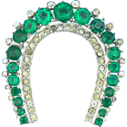Emerald Green Rhinestone Horseshoe Pin