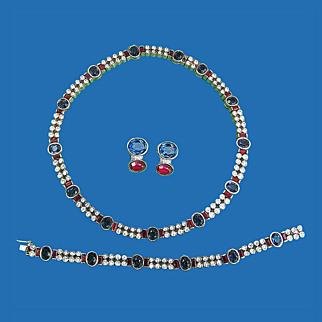 Red White & Blue Rhinestone Parure by Panetta