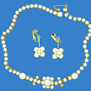 White Milk Glass Necklace & Earrings