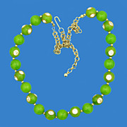 Sweet Pea Green Bakelite & Rhinestone Necklace
