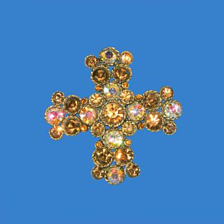 Lovely Amber Aurora Borealis Maltese Cross