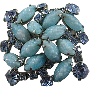 Gorgeous Baby Blue Weiss Molded Navette and Rhinestone Brooch