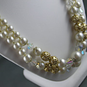 Classy Double Strand Simulated Pearl, Crystal and Gold Tone Bauble Necklace and Earrings