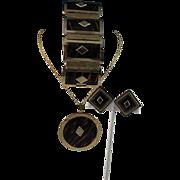 Modernistic Faux Tortoise Shell Leru Necklace, Bracelet and Earrings