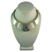 Walk like an Egyptian Silver Tone and Blue Rhinestone Collar Necklace