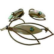 Dainty  Mother of Pearl and Aurora Borealis Brooch and Earrings