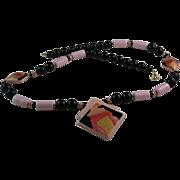 Japan Pink and Black Ceramic Necklace