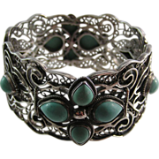 Gorgeous vintage wide cuff bangle sterling silver filigree bracelet - possibly Beau Jewels