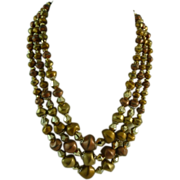 Vintage Triple Strand Bronze and Gold Glass Bead Necklace